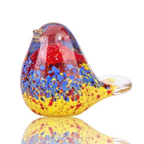 YU FENG Figura de pájaro de cristal realista escultura animal pisapapeles mesa centro adorno para decoración colección presente