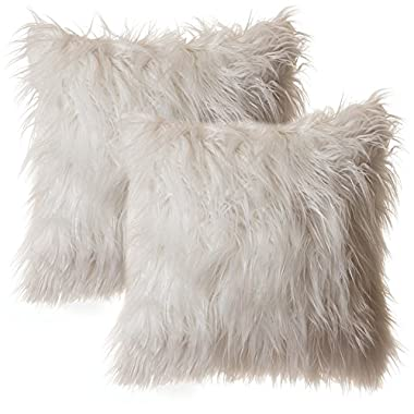 Faux Fur Throw Pillow 18 x18  With Insert (2 PACK), Mongolian Long Hair White