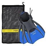 US Divers Trek Travel Fin with Mesh Carrying Bag, Electric Blue, Medium