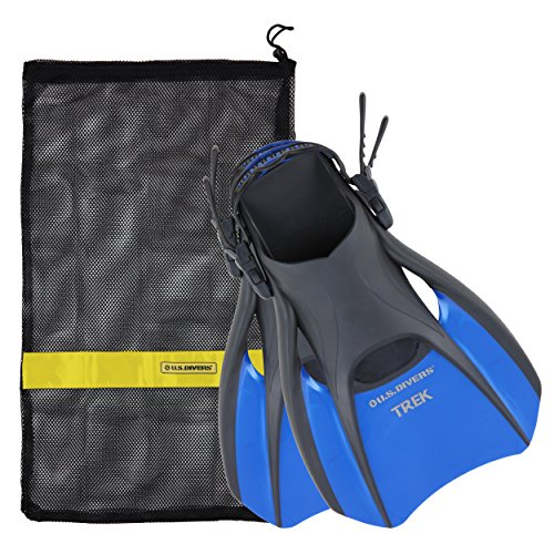 US Divers Trek Travel Fin with Mesh Carrying Bag, Electric Blue, Large