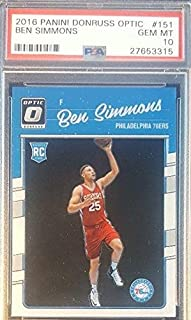 2016-17 Ben Simmons Panini Donruss Optic RC 76ers ROOKIE Graded GEM MINT 10 - PSA/DNA Certified - Basketball Game Used Cards