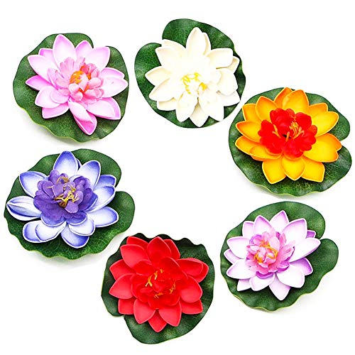 FANDE Flotantes Artificiales flotantes Lotus, 6 Pcs Flor de Loto Artificial de Espuma Flotante, Lirio Agua Artificial Flotante Estanque, para Jardín, Fuente, Estanque, Decoración de Acuario