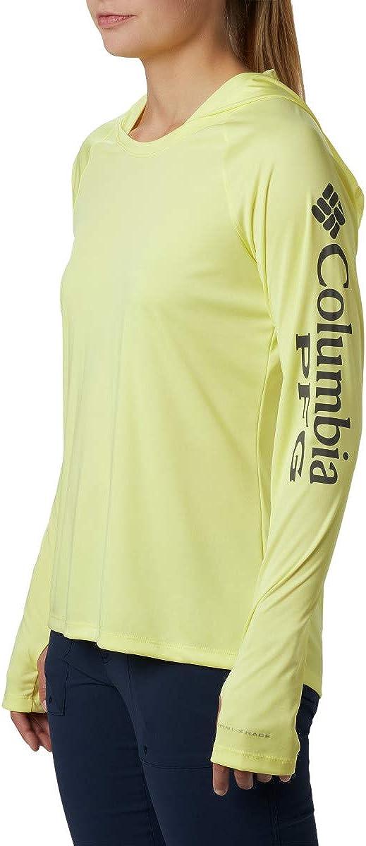 Columbia Tidal Tee Sweat à Capuche, Bleu Aras Jade Citron Vert Logo, Femme, 1654861 Logo Sunnyside/City Gris