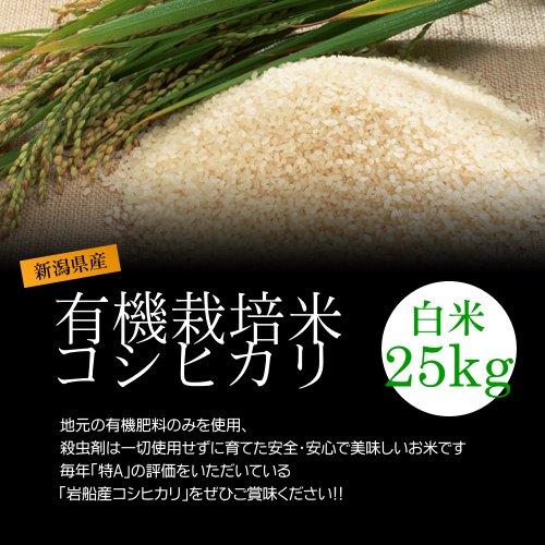 【バレンタイン プレゼント・チョコレート付】有機栽培米コシヒカリ 白米(精米) 25kg(5kg×5袋)/化学肥料ゼロで育てた新潟産有機米