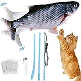 SaiXuan Juguete Pez Eléctrico de Juguete Pez de Eléctrico USB Juguete para Gatos con Hierba Gatera para Que Los Gatos Jueguen, Suministros Interactivos Divertidos para Masticar Mascotas