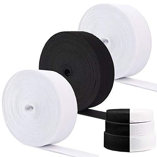 Fiyuer 6 Stück Gummiband Elastisch nähzubehör Wäschegummi Basteln Band,Flache Gummibänder Nähbänder Set Spitze Meterware Schwarz Weiß(2cm,2.5cm,3cm)