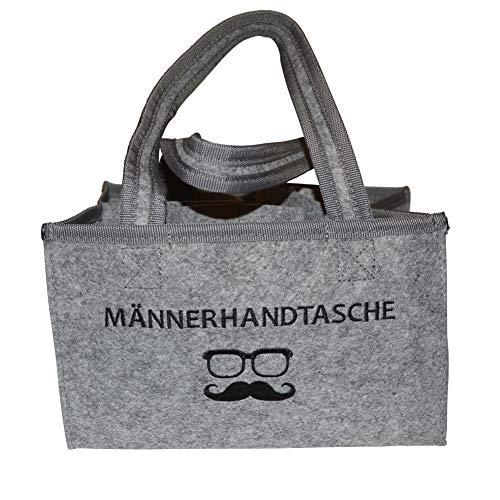 all-around24 Filz Bottlebag Herrenhandtasche, Filztasche, Flaschentasche, Bier Tasche Flaschenkorb Flaschenträger Männerhandtasche (1 x Männerhandtasche Hell-Grau)