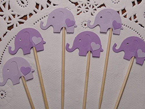Lavender and Lilac Purple Elephant Cupcake Toppers - Elephant and Hearts Food Picks - Baby Shower Appetizer Picks - Baby Girl Shower - (Set of 24)