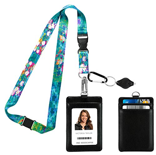 Claude Monet Water Lilies VI 1914-1917 Print Lanyard with PU Leather ID Badge Holder Wallet. 3 Card Pockets. Safety Breakaway Clip & Matching Note Card. Carabiner Keychain Flashlight.