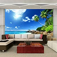 Empty 美しい海辺の風景3D写真壁画壁紙リビングルームのテーマホテルの背景壁の装飾壁画PapelDe Parede-280x200CM