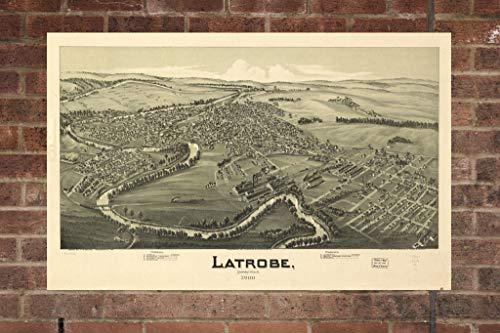 Retro Printing Company Vintage Latrobe Map, Aerial Latrobe Photo, Historical Vintage Latrobe PA, Old Latrobe Photo, 1900, Home Decor, Wall Art