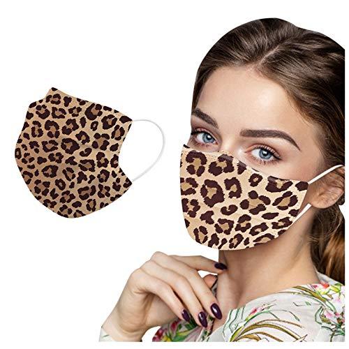 Leopard Grain Breẵthаble Du_st _𝙈𝙖𝙨𝙠 Cute Print Design Adult Women Three-Làyer for CoronàvịrụsProtectịon 50PCS