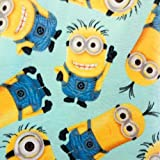 Country Snuggles Minions Light Blue Fleece Fabric by The Yard (1/2 Yard)
