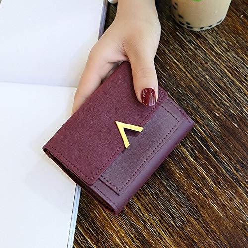 Xiaobing Long leather women's buckle wallet zipper coin purse women's wallet short wallet pocket -WineRed-2-D319