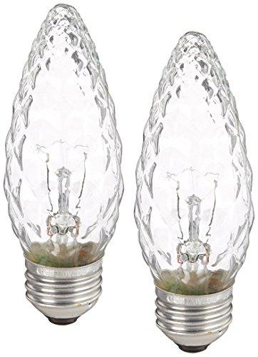 GE Crystal Clear Incandescent FM Chandelier Light Bulbs, 40-Watt, 350 Lumen, Medium Base, Clea Light Bulbs, Soft White, 2-Pack, Decorative Candelabra Light Bulbs, Flame Tip Chandelier Light Bulbs