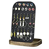 SRIWATANA Earring Holder Organizer Display, Metal Jewelry Organizer with Solid Wood Tray(62 Holes), Carbonized Black