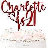 Decoración para tarta de 21 cumpleaños, personalizable, acrílico, 20 colores, color rojo oscuro