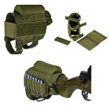 HWZ Rifle Buttstock, Hunting Shooting Tactical Cheek Rest Pad Ammo Pouch with 7 Shells Holder (Army Green)