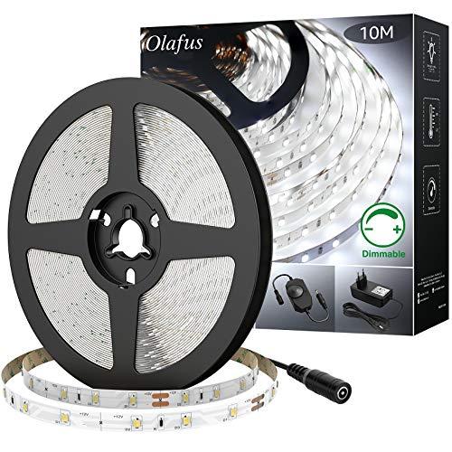Olafus 10M LED Strip Dimmbar, LED Streifen 600 LEDs Lichtband 6000K Kaltweiß, Selbstklebend 2835 LED Hintergrundbeleuchtung mit 12V Netzteil, Leuchtband für Küche, Schrank, Bett, Party