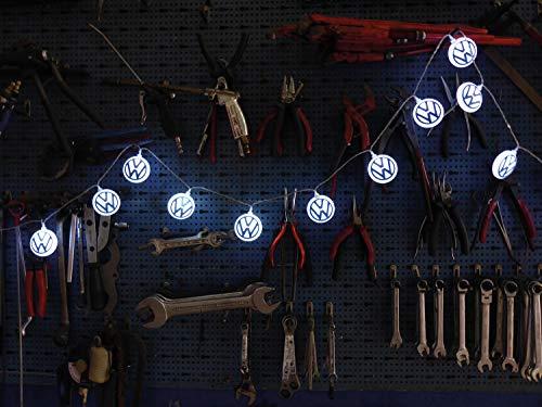 BRISA VW Collection - Volkswagen Bus T1/T2/T3/T4/T5/T6 Golf Cadena de Luces LED, Guirnalda Luminosa a Baterías para Interiores, Decoración de la Casa/Fiestas/Navidad/Camping (20xLED/3m/Azul&Blanco)