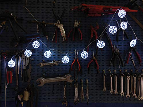 BRISA VW Collection - Stylishe Ambiente Volkswagen Logo Batterie Lichter-Kette für Parties, Kinderzimmer, Werkstätten & Events (für Innen/3m/20 x LED/Blau-Weiß)