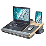 Home Lap Desk, Adjustable Laptop Desk with Triple Cushion&Storage&Wrist Rest Fits 12'-17.3', Travel Portable Laptop Table Multi-Function Computer Bed Trays for Kids Adults Student by FreeQueen