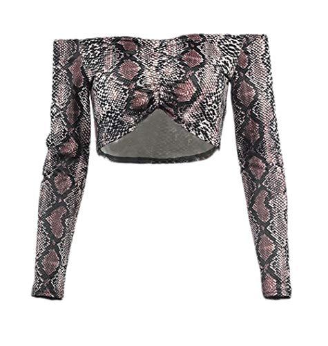 Damen Carmenbluse Fashion Vintage Schlangenmuster Crop Top Classic Elegante Langarm Wort Kragen Schulterfreies Slim Fit Bauchfreie Oberteile T-Shirt Shirts Kleidung (Color : Khaki, Size : S)