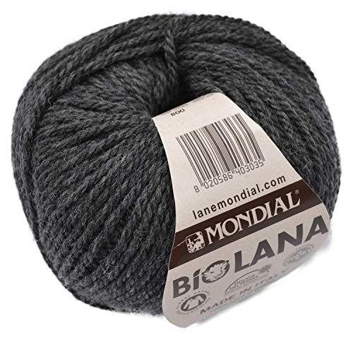 Lane Mondial Bio Lana BioLana Naturwolle Fb. 800 - Graphit, 50g Organic Wool, Biowolle, 100% Reine Schurwolle zum Stricken und Häkeln