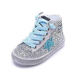Blue Glittler High Top Sequins Star Sneakers