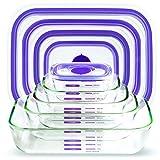 Decor Fitness Freak-FF100 Rectangular Borosilicate Glass Multipurpose Food Storage Container with Nutri Measure Marking & Microwave Safe Air Vent Lids - Set of 5, Purple