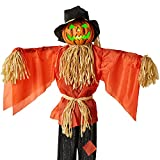 Best Choice Products Animatronic Scarecrow Halloween Decor, Husker The Corn Keeper Sound and Motion Activated, Holiday Prop w/LED Eyes, Pre-Recorded Phrases, Moving Arms
