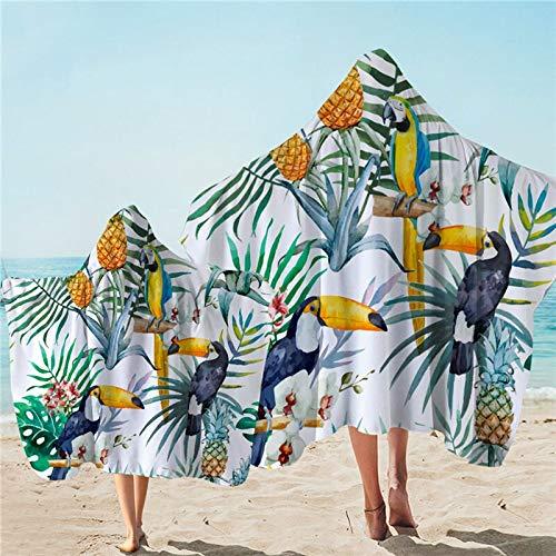 Toalla de baño de planta tropical con capucha flor hoja microfibra con capucha Toucan manta de playa usable 127 x 152 cm
