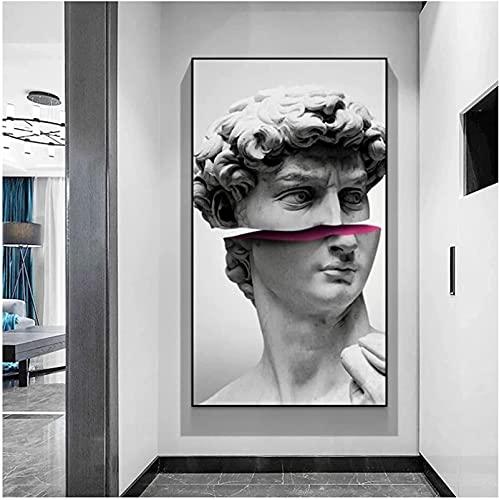 XYYCZ Cuadros de Pared Escultura Abstracta Arte de David Lienzos Carteles e Impresiones Divertido Vaporwave David Decoración Moderna para el hogar 50x100cm sin Marco
