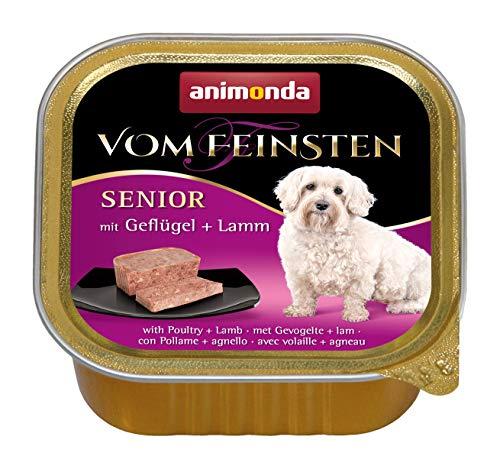 animonda Vom Feinsten Senior Hundefutter, Nassfutter für ältere Hunde ab 7 Jahren, mit Geflügel + Lamm, 22 x 150 g