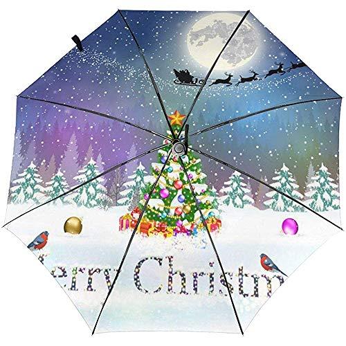 Weihnachtsbaum im Schnee Bedruckter winddichter Reiseschirm - winddichtes, verstärktes Verdeck