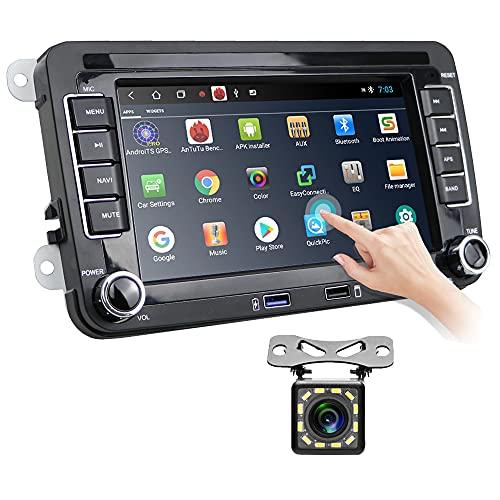 Android Autoradio für VW Golf Skoda Seat, Hikity Auto Radio mit Navi GPS 7 Zoll Kapazitiv Touchscreen Bluetooth Auto-Stereoanlage FM Receiver WiFi Spiegel Link +USB-Kabel & Rückfahrkamera