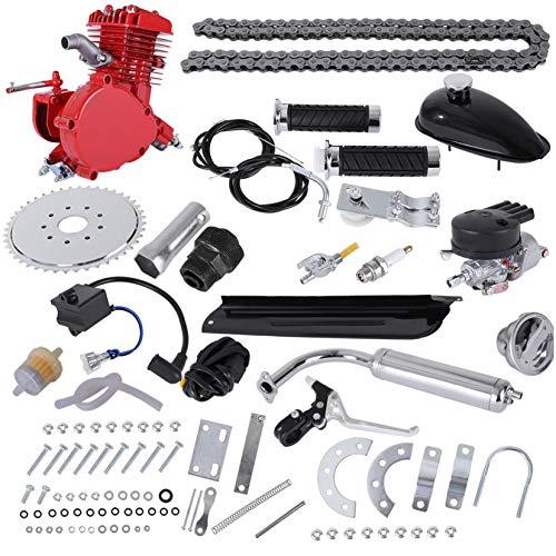 80CC Bicycle Engine Kit, Motorized Upgrade Bike 2-Stroke Conversion Kit,DIY Petrol Gas Engine Bicycle Motor Kit Set for 26',28' Bikes - Red 【UK IN STOCK】