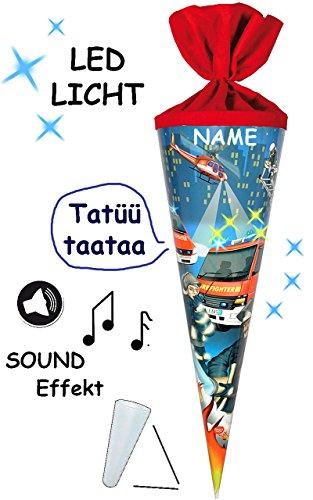 alles-meine.de GmbH mit Sound Effekt & LED Licht ! - Schultüte -  Feuerwehr  - 70 cm - rund - incl. Namen - Filzabschluß - Zuckertüte - mit / ohne Kunststoff Spitze - für Junge..