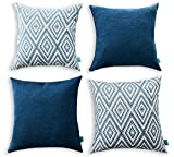 """Home Plus Set of 4 Decorative Throw Pillow Covers Geometric Design Cushion Cases for Couch Sofa Bed Car, 17""""x17"""", Navy Blue"""