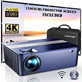 """WIFI Native 1080P Projector with 120"""" Projector Screen & Bag,7500Lux Bluetooth Projector with 400""""Display,Projector Outdoor Movies Support 4K Dolby & Zoom,Projector Compatible with Phone,PC,TV Box,PS4"""