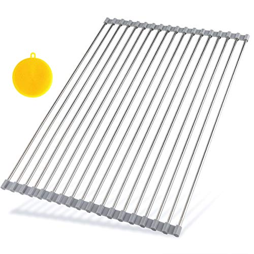 Hhyn Roll Up Dish Drying Rack 205quotL x 14quotW  Stainless Steel and Silicone Dish Drying Mat Over the Sink Foldable Drain Rack Multipurpose Dish Drainer Extra Large Gray