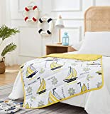 Beauoop Kids Weighted Blanket Juvenile 7 lbs,41' x 60',Yellow Sailboat - Children Baby Teens Heavy Blanket Comforter for Calming & Sleeping, Soft & Fuzzy Fleece with Nontoxic Glass Beads Twin Size Bed