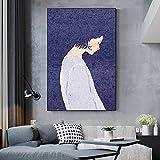 Geiqianjiumai Estilo nórdico Lienzo Pintura Retrato póster e Impresiones Hermosa niña y limón Imagen de la Pared Sala de Estar decoración del hogar Pintura sin Marco 40x50 cm
