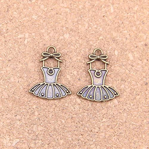 WANM Colgante 20 Piezas Ballet Tutu Bailarina Falda Vestido 20X16Mm Encantos Antiguos Colgantes Vintage DIY Joyería De Plata Tibetana para Collar De Pulsera