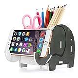 Soporte de teléfono celular, COOLBROS Porta-lápiz de elefante de madera con teléfono Organizador de escritorio de titular (mamuts, L)