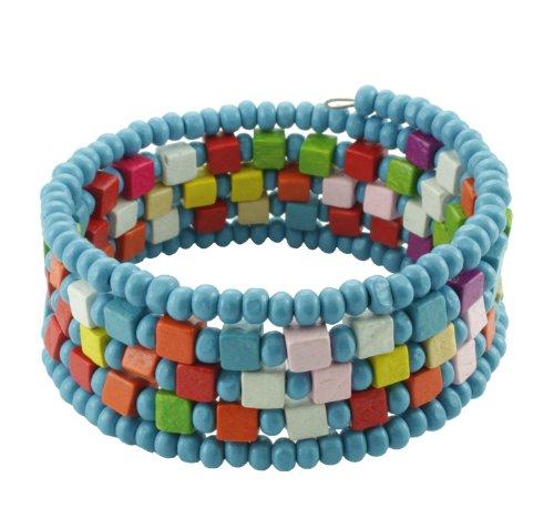 Chic-Net Holzarmreif Armreif Holzarmband Armband Holz Damen Schmuck Holzperlen Perlen Spirale blau bunt eckig