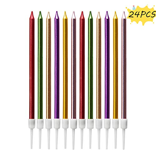 LUTER Metallic Geburtstagskerzen mit Halter Multi-Farbe Geburtstagstorte Kerzen Lange Cupcake Kerzen torten Kerzen für Geburtstag Hochzeit Dekoration (24 Stücke)