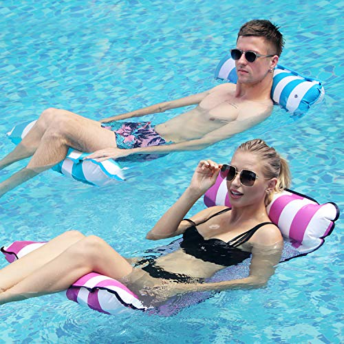 2 Pack Water Hammock Float, Soft Lounge Chairs Pool Floating, Portable Pool Floats for Adults Floating Hammock for Pool Swimming with Air Pump (DEEPPINK/LIGHTSEAGREEN)