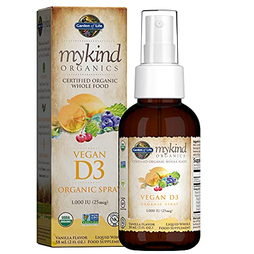 Garden of Life D3 Vitamin - mykind Organic Whole Food Vitamin D Supplement with Plant Omegas, Vegan, Vanilla, 2oz Liquid - Packaging May Vary