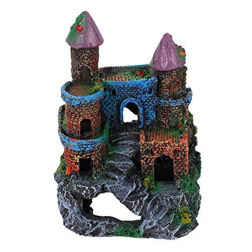POPETPOP Castillo Acuario Decoraciones Pecera Ornamentos con Musgo para Betta Hideout